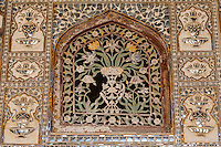 Jaipur, Rajasthan, India.  Amber (or Amer) Palace.  Decorative Plaster Screen in Wooden Frame in the Sheesh mahal, or Hall of Mirrors, showing need for restorative care.