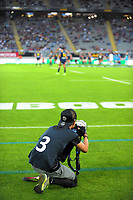 Photosport photographer Anthony Au-Yeung shoots the Super Rugby match between the Blues and Highlanders at Eden Park in Auckland, New Zealand on Saturday, 11 March 2017. Photo: Dave Lintott / lintottphoto.co.nz