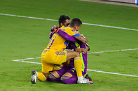 22nd December 2020, Orlando, Florida, USA;  Tigres players  celebrate after winning the Concacaf Championship between LAFC and Tigres UANL on December 22, 2020, at Exploria Stadium in Orlando, FL.