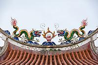 Dragon Roof Decorations, Eng Chuan Tong Tan Kongsi Temple and Clan House, George Town, Penang, Malaysia.