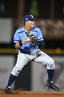 Charlotte Stone Crabs shortstop Willy Adames (2) throws to first during a game against the Bradenton Marauders on April 22, 2015 at McKechnie Field in Bradenton, Florida.  Bradenton defeated Charlotte 7-6.  (Mike Janes/Four Seam Images)