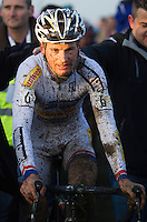 29 NOV 2014 - MILTON KEYNES, GBR - Kevin Pauwels (BEL) from Belgium and the Sunweb-Napoleon Games Cycling Team recovers after winning the men's 2014-2015 UCI Cyclo-Cross World Cup round at Campbell Park in Milton Keynes, Great Britain in a time of 1:03:01 (PHOTO COPYRIGHT © 2014 NIGEL FARROW, ALL RIGHTS RESERVED)