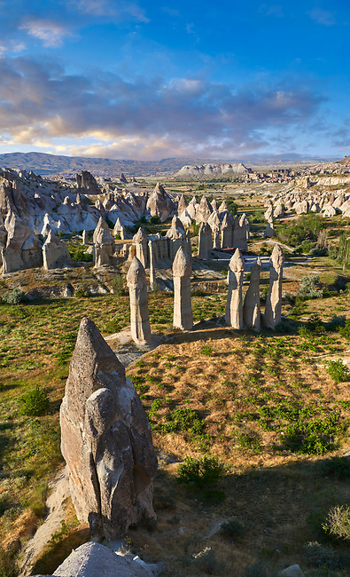 """Pictures & images of the fairy chimney rock formations and rock pillars of """"love Valley"""" near Goreme, Cappadocia, Nevsehir, Turkey"""