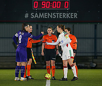 Captain Laura De Neve (8) of Anderlecht, referee Viki De Cremer and captain Lenie Onzia (8) of OHL pictured during the coin toss before a female soccer game between Oud Heverlee Leuven and RSC Anderlecht on the 12 th matchday of the 2020 - 2021 season of Belgian Womens Super League , sunday 31 st of January 2021  in Heverlee , Belgium . PHOTO SPORTPIX.BE | SPP | SEVIL OKTEM