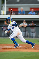 Seuly Matias (25) of the Burlington Royals follows through on his swing against the Danville Braves at Burlington Athletic Stadium on August 12, 2017 in Burlington, North Carolina.  The Braves defeated the Royals 5-3.  (Brian Westerholt/Four Seam Images)