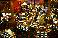 casino, slot machines, Las Vegas, Nevada, NV, The Strip, Slot machines inside the casino at the Monte Carlo Resort & Casino in Las Vegas, the Entertainment Capital of the World.