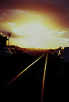 Railroad tracks during dust storm in Kennewick, Washington