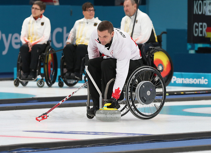Mark Ideson, PyeongChang 2018 - Wheelchair Curling // Curling en fauteuil roulant.<br /> Canada competes in Wheelchair curling // Le Canada participent au curling en fauteuil roulant. 12/03/2018.