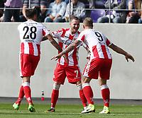 Christopher Trimmel, Marcel Hartel 1:0, Sebastian Polter  <br /> Football / 2. Bundesliga  /  2017/18 / 30.09.2017 / FC Erzgebirge Aue vs. 1.FC Union Berlin  *** Local Caption *** © pixathlon<br /> Contact: +49-40-22 63 02 60 , info@pixathlon.de
