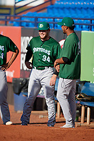 Daytona Tortugas pitcher Jeremy Kivel (34) talks with Kevin Canelon (29) before a game against the St. Lucie Mets on August 3, 2018 at First Data Field in Port St. Lucie, Florida.  Daytona defeated St. Lucie 3-2.  (Mike Janes/Four Seam Images)
