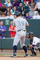 Zane Evans (39) of the Wilmington Blue Rocks at bat against the Winston-Salem Dash at BB&T Ballpark on April 3, 2014 in Winston-Salem, North Carolina.  The Blue Rocks defeated the Dash 3-1.  (Brian Westerholt/Four Seam Images)