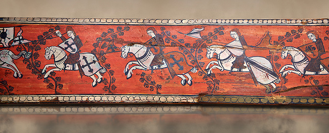 Gothic decorative painted beam panels with gknights on horses, Tempera on wood. National Museum of Catalan Art (MNAC), Barcelona, Spain. Against a art background.