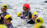 10 MAY 2015 - ST. NEOTS, GBR - Clare Wyngard (wearing orange swim cap) of Dulwich Runners waits for the start of her wave at the 2015 British Sprint Triathlon Championships at Riverside Park in St. Neots, Great Britain (PHOTO COPYRIGHT © 2015 NIGEL FARROW, ALL RIGHTS RESERVED)