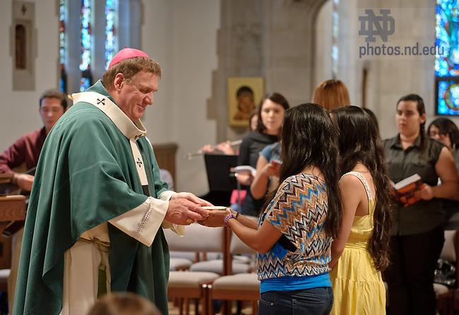 Sep 8, 2013; Archbishop Joseph W. Tobin, C.Ss.R. of Indianapolis celebrates Spanish Mass in Dillon Hall.<br /> <br /> Photo by Matt Cashore/University of Notre Dame