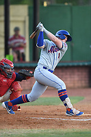 Kingsport Mets Brett Baty (1) at bat during a game against the Elizabethton Twins at Northeast Community Credit Union Ballpark on July 5, 2019 in Elizabethton, Tennessee. The Twins defeated the Mets 7-1. (Tracy Proffitt/Four Seam Images)
