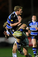 Sam Vesty of Bath Rugby fails to get hold of the high ball during the LV= Cup semi final match between Bath Rugby and Leicester Tigers at The Recreation Ground, Bath (Photo by Rob Munro, Fotosports International)