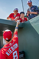 29 February 2020: Washington Nationals top prospect infielder Carter Kieboom obliges a young fan with an autographed baseball prior to a Spring Training game against the St. Louis Cardinals at Roger Dean Stadium in Jupiter, Florida. The Cardinals defeated the Nationals 6-3 in Grapefruit League play. Mandatory Credit: Ed Wolfstein Photo *** RAW (NEF) Image File Available ***