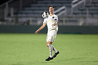 CARY, NC - AUGUST 01: Jake Rufe #13 chest traps the ball during a game between Birmingham Legion FC and North Carolina FC at Sahlen's Stadium at WakeMed Soccer Park on August 01, 2020 in Cary, North Carolina.