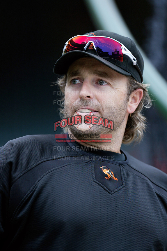 Kevin Millar of the Baltimore Orioles during batting practice before a game from the 2007 season at Angel Stadium in Anaheim, California. (Larry Goren/Four Seam Images)