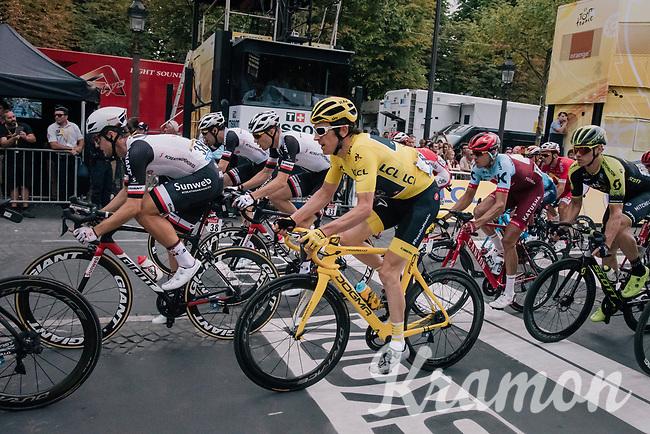 yellow jersey / GC leader Geraint Thomas (GBR/SKY) speeding across the line in the 1 but last lap<br /> <br /> Stage 21: Houilles > Paris / Champs-Élysées (115km)<br /> <br /> 105th Tour de France 2018<br /> ©kramon