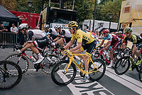 yellow jersey / GC leader Geraint Thomas (GBR/SKY) speeding across the line in the 1 but last lap<br /> <br /> Stage 21: Houilles > Paris / Champs-Élysées (115km)<br /> <br /> 105th Tour de France 2018<br /> ©kramon