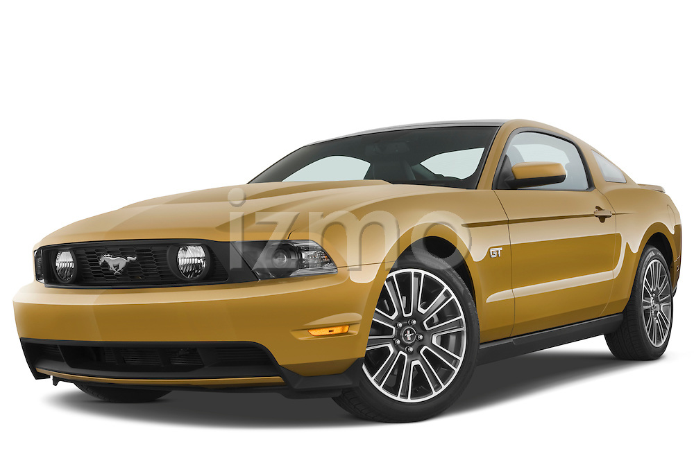 Low aggressive front three quarter view of a 2010 Ford Mustang Coupe GT Premium.