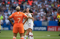 LYON, FRANCE - JULY 07: USWNT celebrates during a game between Netherlands and USWNT at Stade de Lyon on July 07, 2019 in Lyon, France.