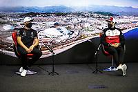 23rd September 2021; Sochi, Russia;  F1 Grand Prix of Russia 77 Valtteri Bottas FIN, Mercedes-AMG Petronas F1 Team, 99 Antonio Giovinazzi ITA, Alfa Romeo Racing ORLEN, F1 Grand Prix of Russia at Sochi Autodrom   driver press conference