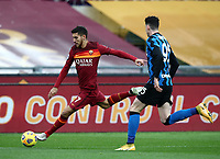 Football, Serie A: AS Roma -  FC Internazionale Milano, Olympic stadium, Rome, January 10, 2021. <br /> Roma's Lorenzo Pellegrini (l) in action with Alessandro Bastoni (r) during the Italian Serie A football match between Roma and Inter at Rome's Olympic stadium, on January 10, 2021.  <br /> UPDATE IMAGES PRESS/Isabella Bonotto