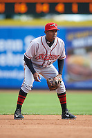 Richmond Flying Squirrels shortstop Rando Moreno (17) during a game against the Erie Seawolves on May 20, 2015 at Jerry Uht Park in Erie, Pennsylvania.  Erie defeated Richmond 5-2.  (Mike Janes/Four Seam Images)