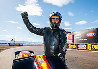 Feb 26, 2017; Chandler, AZ, USA; NHRA top fuel nitro Harley Davidson rider Rickey House celebrates after winning the Arizona Nationals at Wild Horse Pass Motorsports Park. Mandatory Credit: Mark J. Rebilas-USA TODAY Sports