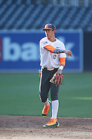 Nolan Jones (10) of the East team makes a throw during the 2015 Perfect Game All-American Classic at Petco Park on August 16, 2015 in San Diego, California. The East squad defeated the West, 3-1. (Larry Goren/Four Seam Images)