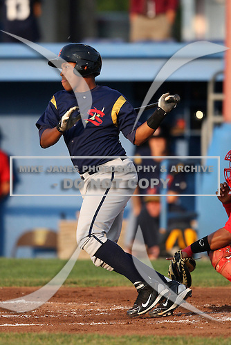 State College Spikes catcher Miguel Mendez (26) during a game vs. the Batavia Muckdogs at Dwyer Stadium in Batavia, New York June 26, 2010.   State College defeated Batavia 9-8.  Photo By Mike Janes/Four Seam Images
