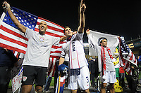 USMNT goalkeeper Tim Howard, left defender Carlos Bocanegra middle and midfielder Landon Donovan (10) celebrate the qualification to South Africa 2010.  The USMNT tied Costa Rica 2-2 on the final game of the 2010 FIFA World Cup Qualifying round at RFK Stadium, Wednesday October 14, 2009.
