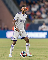 FOXBOROUGH, MA - JULY 28: Nani #17 looks to pass during a game between Orlando City SC and New England Revolution at Gillette Stadium on July 27, 2019 in Foxborough, Massachusetts.