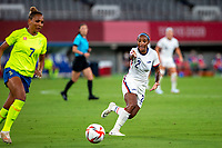 TOKYO, JAPAN - JULY 21: Crystal Dunn #2 of the United States during a game between Sweden and USWNT at Tokyo Stadium on July 21, 2021 in Tokyo, Japan.