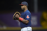 Salem Red Sox first baseman Jerry Downs (30) on defense against the Winston-Salem Dash at BB&T Ballpark on April 20, 2018 in Winston-Salem, North Carolina.  The Red Sox defeated the Dash 10-3.  (Brian Westerholt/Four Seam Images)