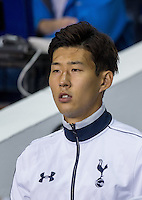 Double goal scorer Son Heung-Min of Tottenham Hotspur heads onto the pitch during the UEFA Europa League match between Tottenham Hotspur and Qarabag FK at White Hart Lane, London, England on 17 September 2015. Photo by Andy Rowland.