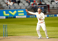 27th May 2021; Emirates Old Trafford, Manchester, Lancashire, England; County Championship Cricket, Lancashire versus Yorkshire, Day 1; Matt Parkinson of Lancashire reacts after he takes the wicket of Yorkshire skipper Steven Patterson to leave Yorkshire on 118-7