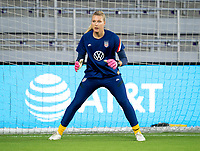 ORLANDO, FL - FEBRUARY 24: Casey Murphy #21 of the USWNT warms up before a game between Argentina and USWNT at Exploria Stadium on February 24, 2021 in Orlando, Florida.