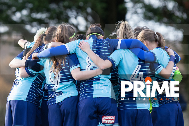 Wycombe Ladies pre match team huddle during the Southern Region Women's Football match between Wycombe Ladies and Woodley United Ladies at The Row, Lane End, England on 26 November 2017. Photo by Andy Rowland.