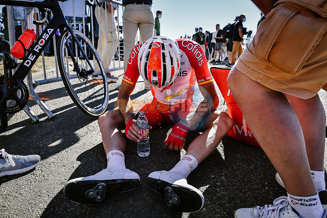 Jesus Herrada (ESP) Cofidis exhausted after finishing in 2nd place on Mont Aigoual at the end of Stage 6 of Tour de France 2020, running 191km from Le Teil to Mont Aigoual, France. 3rd September 2020.<br /> Picture: ASO/Pauline Ballet | Cyclefile<br /> All photos usage must carry mandatory copyright credit (© Cyclefile | ASO/Pauline Ballet)