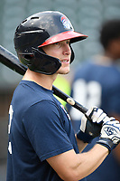 Left fielder Andrew Moritz (25) of the Rome Braves takes batting practice before a game against the Columbia Fireflies on Tuesday, June 4, 2019, at Segra Park in Columbia, South Carolina. Columbia won, 3-2. (Tom Priddy/Four Seam Images)