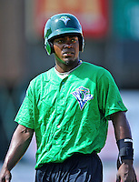 2 July 2011: Vermont Lake Monsters' outfielder Xavier Macklin awaits his turn in the batting cage prior to a game against the Tri-City ValleyCats at Centennial Field in Burlington, Vermont. The Lake Monsters rallied from a 4-2 deficit to defeat the ValletCats 7-4 in NY Penn League action. Mandatory Credit: Ed Wolfstein Photo