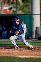 Lakeland Flying Tigers Cole Peterson (9) bats during a Florida State League game against the Dunedin Blue Jays on April 18, 2019 at Jack Russell Memorial Stadium in Clearwater, Florida.  Dunedin defeated Lakeland 6-2.  (Mike Janes/Four Seam Images)