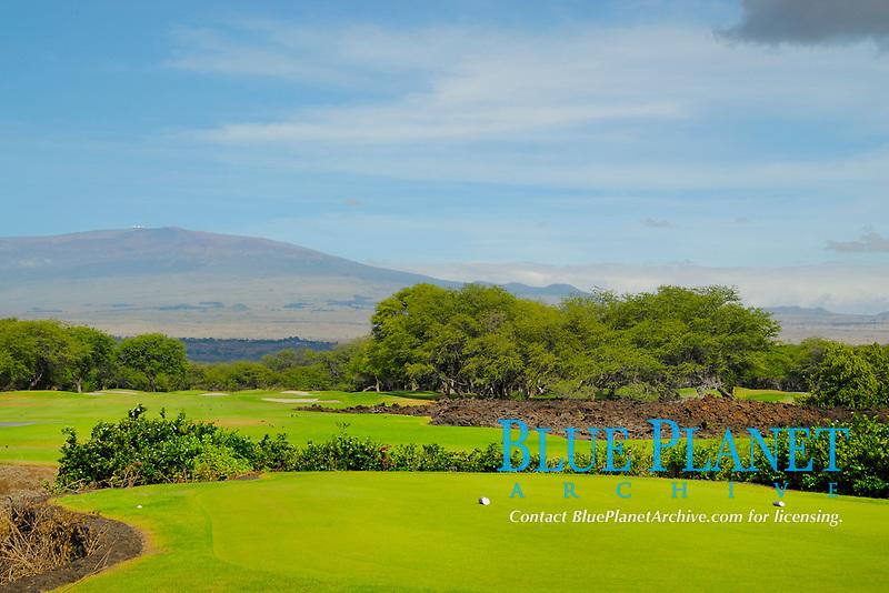 Mauna Lani resort North golf course, ladies tee, 10th tee, Mauna Kea volcano in the distance, Fairmont Orchid Hawaii Resort area, The Big Island of Hawaii