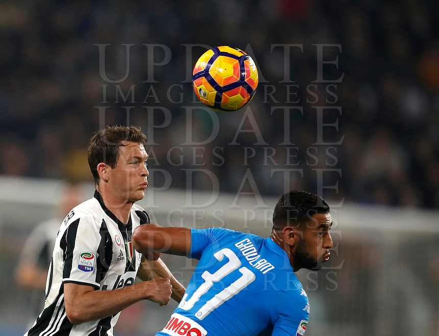 Calcio, Serie A: Juventus Stadium. Torino, Juventus Stadium, 29 ottobre 2016.<br /> Juventus' Stephan Lichsteiner, left, and Napoli's Faouzi Ghoulam fight for the ball during the Italian Serie A football match between Juventus and Napoli at Turin's Juventus Stadium, 29 October 2016. Juventus won 2-1.<br /> UPDATE IMAGES PRESS/Isabella Bonotto