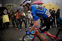 Maglia Azzurra / KOM leader AND eventual stage winner Giulio Ciccone (ITA/Trek-Segafredo) up the extremely wet, cold & misty Cole di Mortirolo <br /> <br /> Stage 16: Lovere to Ponte di Legno (194km)<br /> 102nd Giro d'Italia 2019<br /> <br /> ©kramon