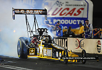 Oct. 31, 2008; Las Vegas, NV, USA: NHRA top fuel dragster driver Tony Schumacher does a burnout during qualifying for the Las Vegas Nationals at The Strip in Las Vegas. Mandatory Credit: Mark J. Rebilas-