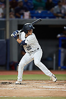 Anthony Seigler (20) of the Hudson Valley Renegades at bat against the Wilmington Blue Rocks at Dutchess Stadium on July 27, 2021 in Wappingers Falls, New York. (Brian Westerholt/Four Seam Images)